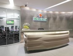 Heineken's Headquarters sculptural reception desk