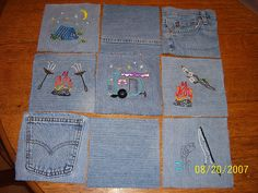 jean rag quilt- what a great idea with the embroidery