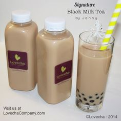 Lovecha's Signature Black Milk Tea in a convenient bottles.
