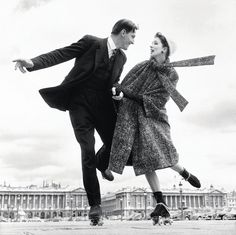 Suzy Parker and Robin Tattersall, dress by Dior, Place de la Concorde, Paris, August 1956. Photo by Richard Avedon.