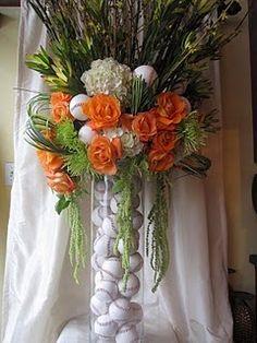 Baseball wedding floral centerpiece Casper too cool fill vases w baseballs! Floral Centerpieces, Floral Arrangements, Flower Arrangement, Baseball Centerpiece, Baseball Decorations, Floral Wedding, Wedding Flowers, Bar Mitzvah, Party Time