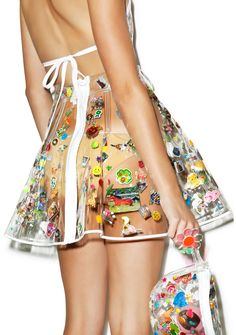 Indyanna Polly PVC Pleated Skirt With Fanny Pack - how 90s is this a plastic skirt with stickers?!