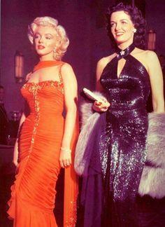 "Marilyn Monroe & Jane Russell in ""Gentlemen Prefer Blondes"" 1953"
