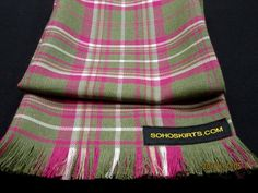 Pink Green Fringe Scarf~Wedding gifts fringe scarf~Custom make fringe scarf~ Long Fringes, Fringe Scarf, Long Scarf, Pink And Green, Tartan, Custom Made, Wedding Gifts, How To Make, Scarves