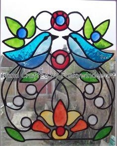 stain glass bird window | birds window clings window art stained glass effects suncatchers ...