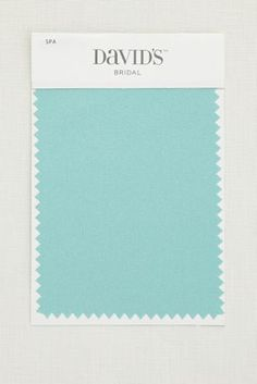5 1/2 by 3 1/2 inch satin swatch. Available for all colors in David's Bridal's exclusive color palette. Get your color swatches to perfectly coordinate your big day!  Ships for FREE!  Fabric Swatch shown in Spa.