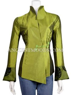 Ceremonial Thai Silk Jacket,Woman Jackets & Coats,Chinese Clothing