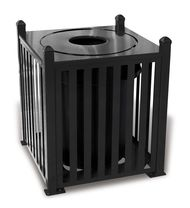 32 gallon ultra site savannah outdoor square trash container - Outdoor Trash Cans