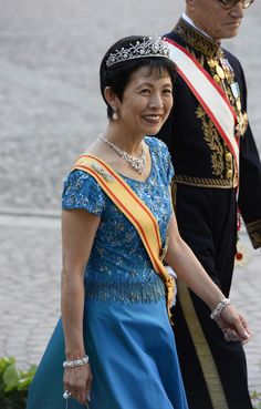 Princess Hisako Takamado of Japan arrives on June 8, 2013 to the Royal church for Princess Madeleine of Sweden and Christopher O'Neill 's wedding cermony at the Royal castle in Stockholm, June 8, 2013