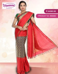 #Kanchivaram #Kanchipuramsilksarees #ethnicwear #Vijayalakshmisilks Red and Deep purple kanchivaram silk saree with double kuttu skirt contrast red borders with pure zari brocade checks  woven in the middle portion of the saree. Saree comes with contrast red rich traditional pallu with brocade zari design with peacock and horse motifs in it and comes with  contrast red plain blouse piece with green piping. Shop Online…