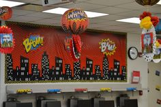 Head back to school with a Science Superheroes Classroom Reveal, checkout organization ideas and decorating tips perfect for any superhero theme. ~Simply Sprout  http://www.orientaltrading.com/blog/educate/science-superheroes-classroom-reveal/