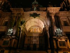 Fachada da Berliner Dom à noite, Berlin, Berlim, Europa, Europe, Europa Central, Central Europe, cidade, city, arquitetura, architecture