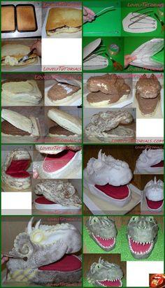 Dragon Cake Tutorial | Sculpted Cake Tutorials | Pinterest