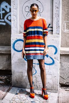 New knitting dress summer knitwear Ideas Knitwear Fashion, Knit Fashion, Fashion Fashion, Vogue Street Style, Striped Knit, Pyjamas, Knit Dress, Jumper Dress, Outfits