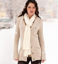 """Eddie Bauer :: Shawl-Collar Dream Cardigan (Beige) **note: I also love this in """"Dark Brown Heather,"""" but was unable to pin any of the alternate colors. Beige Cardigan, Eddie Bauer, Autumn Fashion, Footwear, My Style, Coat, Dark Brown, Shawl, Jackets"""