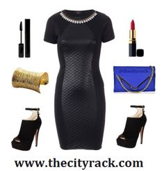 For a sophisticated look this party season, this gorgeous bodycon dress is perfect. The black quilted panel gives an illusion of a more womanly figure while the necklace embellishment gives it that elegant touch. Add some shoe boots and a statement clutch and you're ready to party hard.