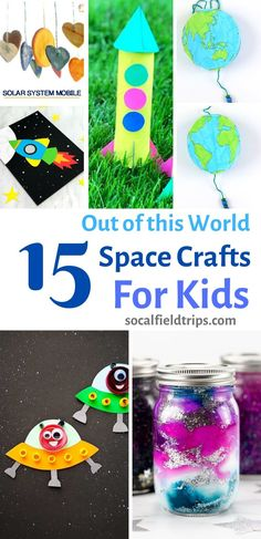 With these 15 Out of This World Space Crafts For Kids, children can learn about the stars, the solar system and the planets without ever having to go there! Fun Crafts For Kids, Summer Crafts, Preschool Crafts, Projects For Kids, Art For Kids, Garden Projects, Outer Space Crafts For Kids, Simple Crafts, Classroom Crafts
