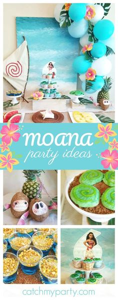 Don't miss this gorgeous Tropical Moana birthday party. The dessert table is so beautiful!!