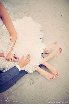 Bride & groom on the beach!