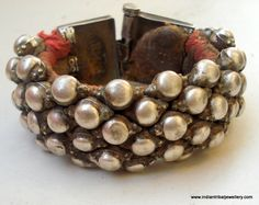 vintage antique ethnic tribal old silver beads cuff bracelet bangle india.