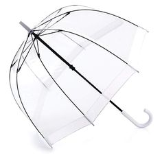17 rainwear pieces you're going to need for spring/summer 2015 - Elle Canada Fulton Umbrella, Dome Umbrella, White Umbrella, White Trim, Black Trim, Black And White, Birdcage Umbrella, Transparent Umbrella, Windy Day