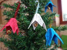 Your little ones can go jingling all the way to the Christmas tree with these Egg Carton Bell Ornaments. Homemade Christmas ornaments like these will make your tree look fabulous and trendy. | AllFreeKidsCrafts.com