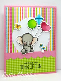 Good morning! I hope you're having a wonderful weekend. I've got a bright and cheery card to share today. I used the cute BB Adorable Elephants from My Favorite Things. I pretty much love everyt