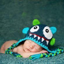 Monster Baby Hoed Pasgeboren Fotografie Rekwisieten Hand Knit Cartoon Kostuum Baby Jongen Meisje Cap Vijf Kleuren(China (Mainland))
