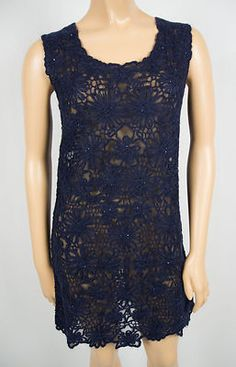MOSCHINO CHEAP AND CHIC Blue Lace Eyelet Dress 6 S Cotton Mohair Bead Accent