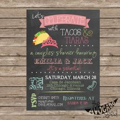 Tacos and Tiaras Invitation DIY Printing or by TheAvocadoSeed
