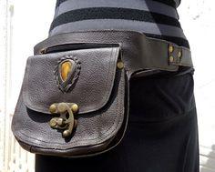 Leather Utility Belt Bag Hip Bag with Pockets Festival Belt in Brown with Tiger Eye