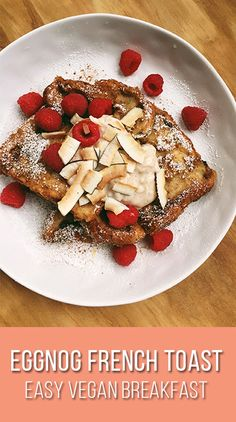 Spice up your holiday breakfast table with my twist on a classic. Today I show you how to make vegan eggnog french toast, perfect for this holiday season. French Bread French Toast, Eggnog French Toast, Vanilla Yogurt, Vegan Breakfast, Vegan Recipes Easy, Mixed Drinks, Raisin, Spice Things Up, Spices
