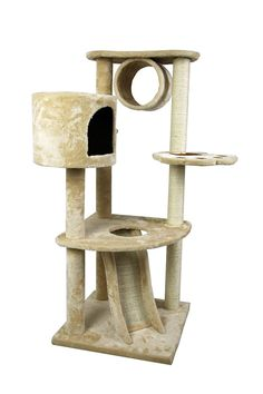 46' Cat Tree Bed Sisal Scratching Post Furniture Playhouse cat Bed Kitten Cat Tower Condo Stairs for Kittens (Beige) from FLA ** Insider's special review you can't miss. Read more  : Cat Tree and Tower