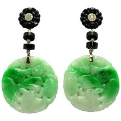 Jade Black Onyx And Diamond Pendant Earrings ($4,500) ❤ liked on Polyvore featuring jewelry, earrings, green, 18k diamond earrings, carved jade pendant, floral earrings, green jade pendant and carved pendant