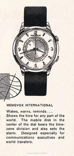 """Friends, Five years ago today, I posted a photo of this ad: If you do a search here in the JLC forum """"Where the unusual is commonplace"""" you will find it… T Watch Drawing, Watch Ad, Iwc, World Traveler, Vintage Watches, Cool Watches, Gold Watch, Spaces, Accessories"""