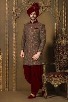 Samyakk Maroon Silk Embroidered Indo western Sherwani