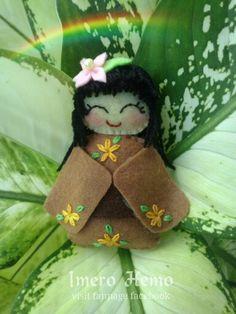 Kawaii brown felt doll Felt Dolls, Cotton Fabric, Teddy Bear, Kawaii, Christmas Ornaments, Toys, Holiday Decor, Brown, Home Decor