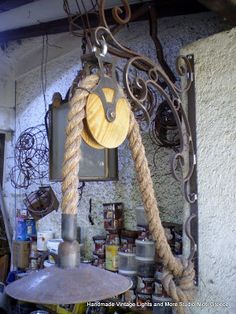 STUDIO NIOTIS: Vintage χειροποίητη απλίκα με σχοινί Manilla & ξύλ...