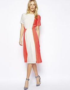 ASOS T-shirt Pleated Midi Dress, $122.32
