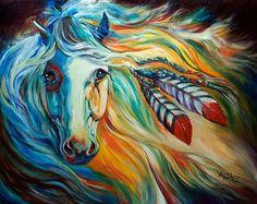 """Breaking Down"" - Indina War Horse. Oil painting. Artist Marcia Baldwin."