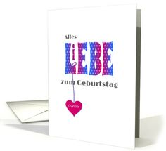 Typographic German Language Birthday Greeting Card In Pink And Blue
