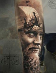 Ragnar King Ragnar Lothbrök sleeve, from the Vikings TV series. Tattoo by Arlo DiCristina.King Ragnar Lothbrök sleeve, from the Vikings TV series. Tattoo by Arlo DiCristina. Zeus Tattoo, Arlo Tattoo, Poseidon Tattoo, Tattoos Arm Mann, 3d Tattoos, Body Art Tattoos, Sleeve Tattoos, Small Tattoos, Ship Tattoos