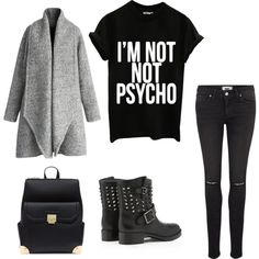 black is the new concept by voicuandrada on Polyvore featuring Chicwish, Paige Denim and Valentino