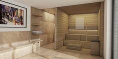 Bau von Aussensauna mit Dusche und Waermebank
