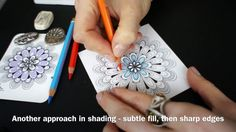 Drawing a tangle pattern Scallops in a mandala. Several variations. Shading included.