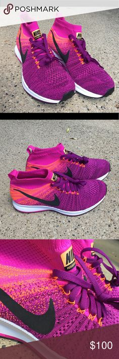 new arrival 78d2b 4bb9e Nike Zoom Pegasus All Out Flyknit Purple orange and pink knit Nike running  shoes, brand