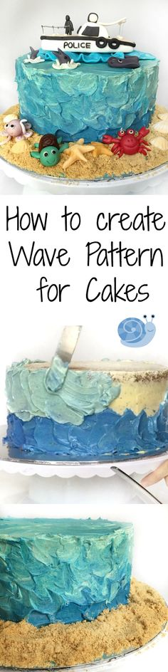 How to create Blue Ombre Ocean theme Wave Cake. :) Video included