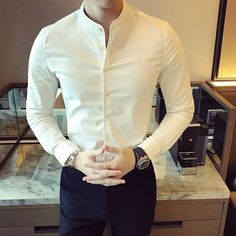 Dec 2019 - Casual slim long sleeve shirt for men. Buy in our catalog online store The-Casual. Also available in other colors: black, white, gray. Long Sleeve Cotton Dress, Long Sleeve Shirt Dress, Mens Fashion Wear, Fashion Moda, Style Fashion, Formal Shirts, Casual Shirts, Mens Floral Dress Shirts, Formal Men Outfit
