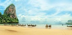 Railay beach with longtail boats in Krabi, Thailand. Photo / Getty Images