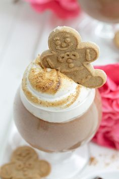 Chocolate Parfait (made with GODIVA Chocolates!) topped Toasted Gingerbread Marshmallow Fluff!